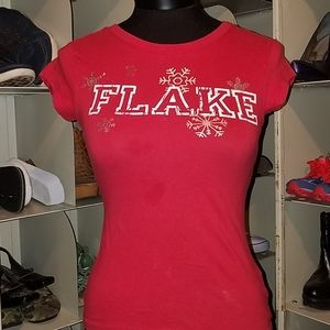 Lola red Flake tshirt top size xs